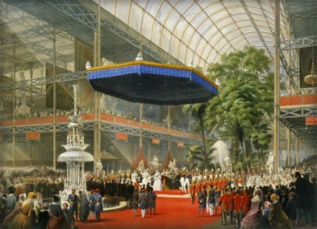 Lithograph of Queen Victoria in Crystal Palace, 1851, opening ceremony of Great Exhibition.