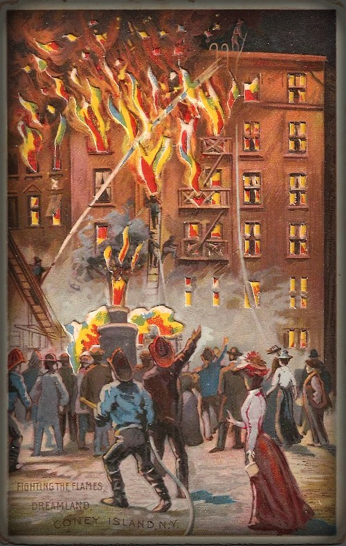 Coney island Dreamland colored drawing of 6-story building on fire in Fighting The Flames. Image: Library of Congress.