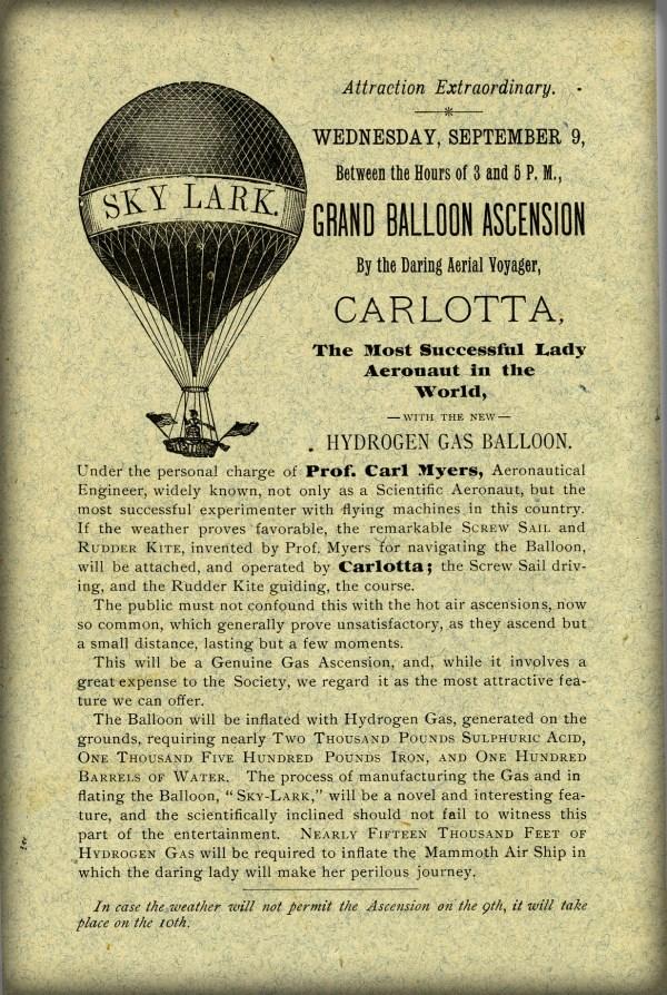 Aeronaut Mary Myers, Carlotta Poster. Image: Wikipedia.