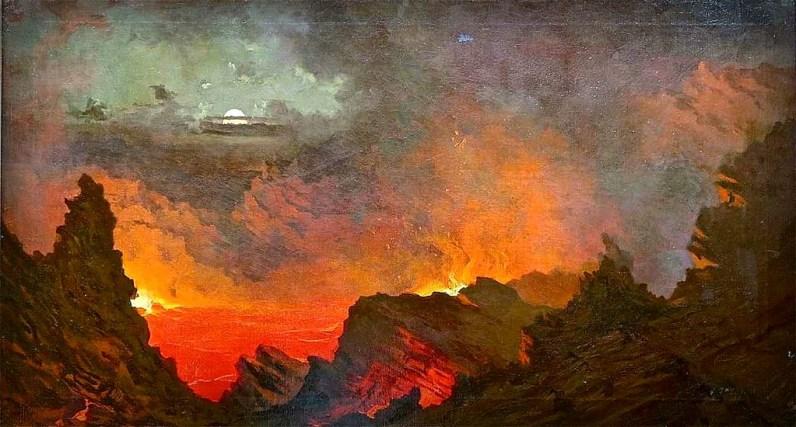 Volcano School Painters: Jules Tavernier, Kilauea By Moonlight, 1889. Image: Wikipedia.