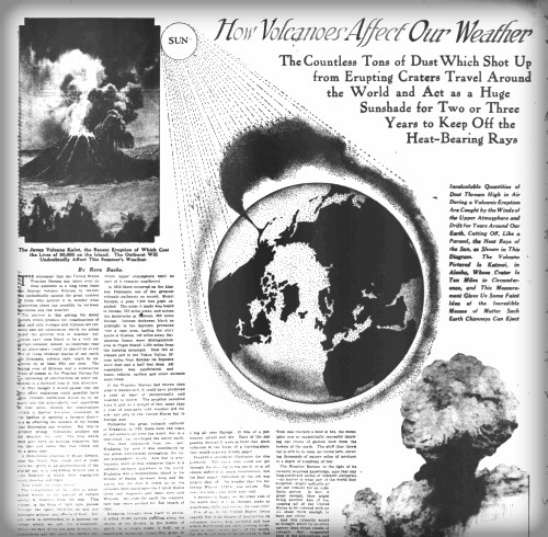 Cover of Washington Times June 29, 1919 with image of volcano exploding and globe with jet stream circling it. Image: Library of Congress.
