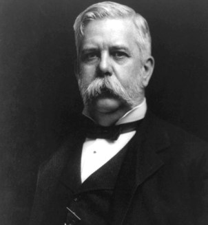 Chest up photograph in black and white of George Westinghouse.