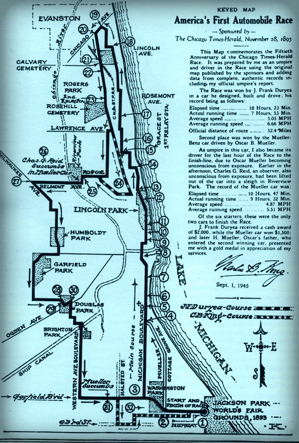 First American Car Race Route. Image: Wikipedia.