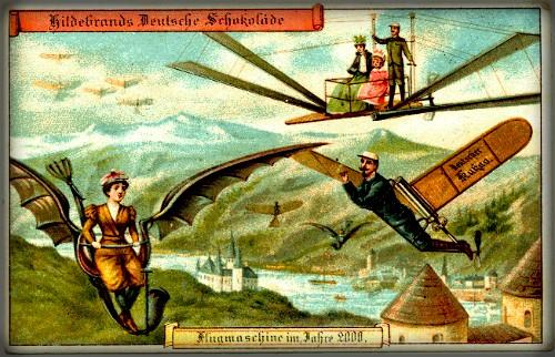 Futuristic Victorian Postcards : Individual Flying Machine. Image: Wikipedia.