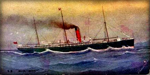 colored drawing of S.S. Warimoo steamer ship in ocean
