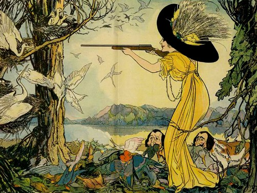 Christmas Bird Hunt: Woman Behind The Gun, by Gordon Ross, 1911. Image: Library of Congress.