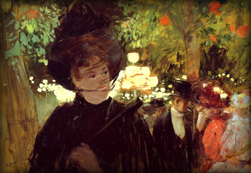 Impressionist painting of lady in park in a Feathered Victorian hat by Jean-Louis Forain-1892. Image: Wikipedia.