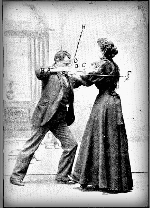 Black and white photograph of Hurst in long dress resisting man pushing against her Image: Lulu Hurst autobiography 1897.