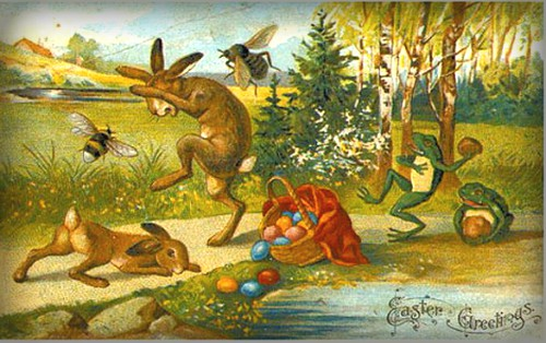 Quirky Victorian Easter Cards: Easter Bunnies Fight Bumble Bees. Image: BBC.com.
