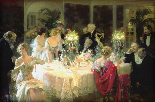 Painting of four women and Several older men in tuxedoes around a banquet table. The End of Dinner, 1913 by Jules-Alexandre Grün. Image: Wikipedia.