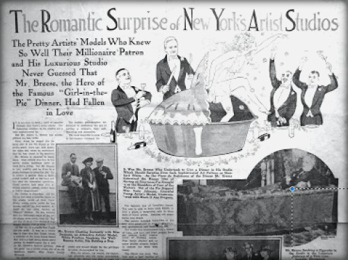 newspaper illustration of girl jumping out of pie surrounded by men in tuxedos.