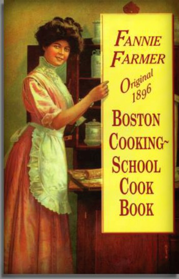 Fannie Merritt Farmer's Boston Cooking School Magazine of Culinary Science and Domestic Economics (1908) Illustration of Woman with apron pointing to title. Image: Wikipedia.