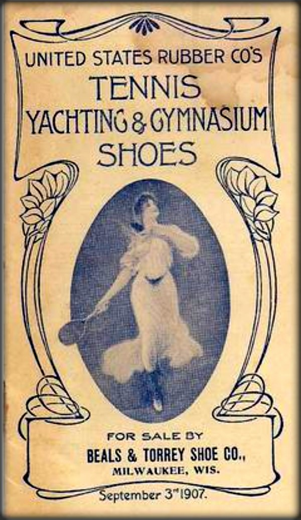 U.S. Rubber Co's Tennis Yachting and Gymnasium Shoes Ad, 1907. Image: Wikipedia.