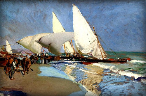 Painting of boats with four white sails agains blue sky on the seashore, 1908.