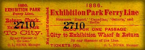 Exhibition Ferry Ticket, 1886. Image: CNE Heritage.com.