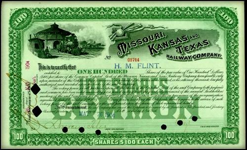 Katy Railroad Shares, 1904. Image: Wikipedia.