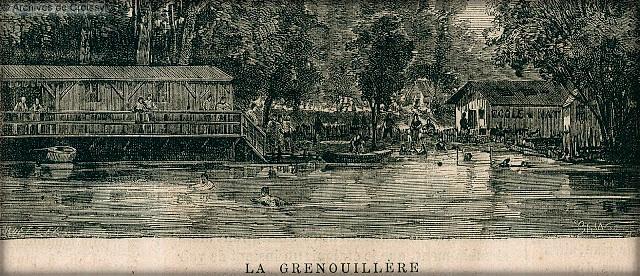 La Grenouillère Lithograph. Image: Municipal Archives of Croissy.