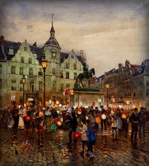 Martin's procession on the Düsseldorf market square by Heinrich Hermanns, 1905. Image: Wikipedia.