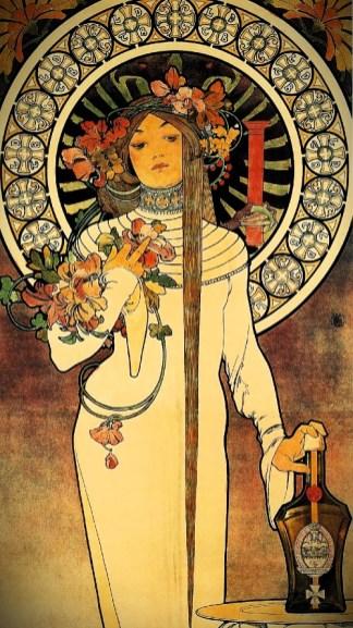Poster For La Trappistine, 1897 by Alfons Mucha. Image: Wikipedia.