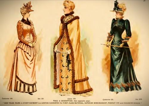 Deutsch & Company Formal Cape and Dresses, 1891. Image: Original Catalogue-Archive.org.