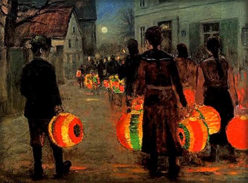 Painting of children walking in moonlight carrying twelve inch orange paper lanterns on a moonlit village street. Painting by Anne Sophie Petersen.