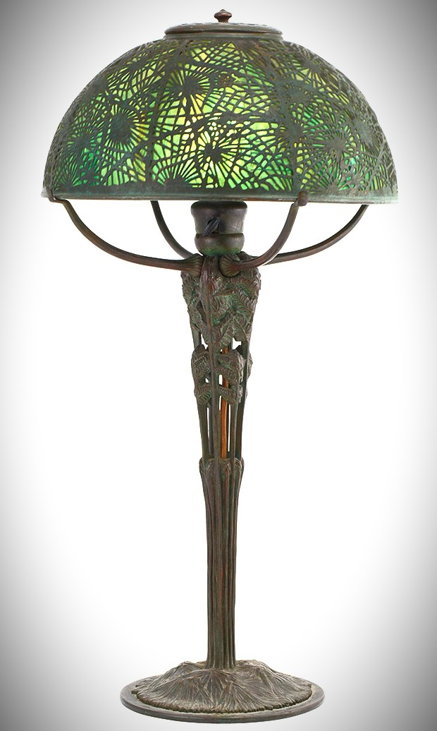 Green Glass Mosaic Victorian Fern Decor Lampshade with tall bronze base by Tiffany.