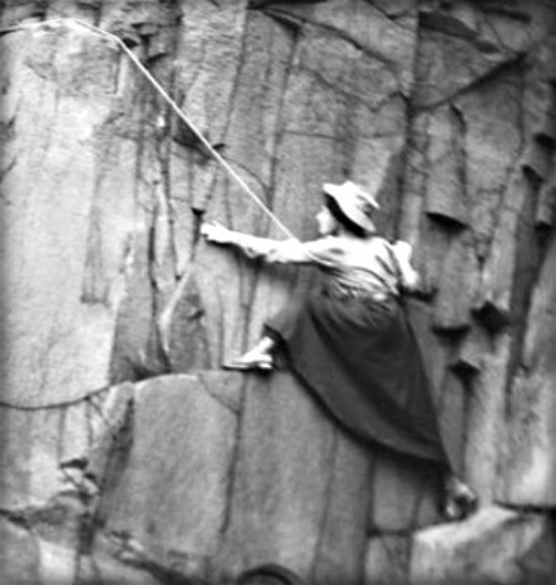 Lucy Smith and Pauline Ranken Climbing Salisbury Crags. c.1908. Image: Ladies' Scottish Climbing Club.