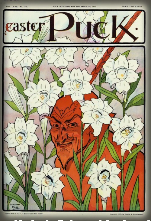 Red Devil in Easter Lilies, Puck Magazine, 1910. Image: Library of Congress.