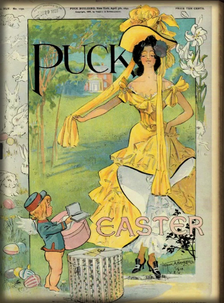 Messenger Delivers Easter Bonnet, PUCK Magazine, 1899. Image: Library of Congress.