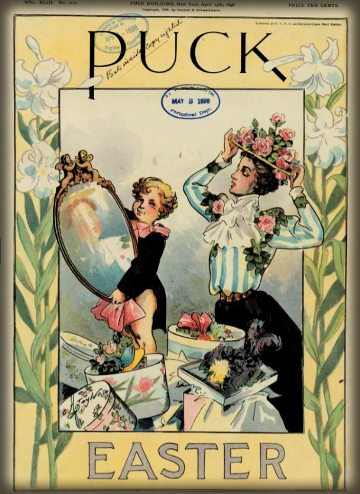 Puck Holds Mirror For Woman With Easter Bonnets, Puck Magazine, 1898. Image: Library of Congress.