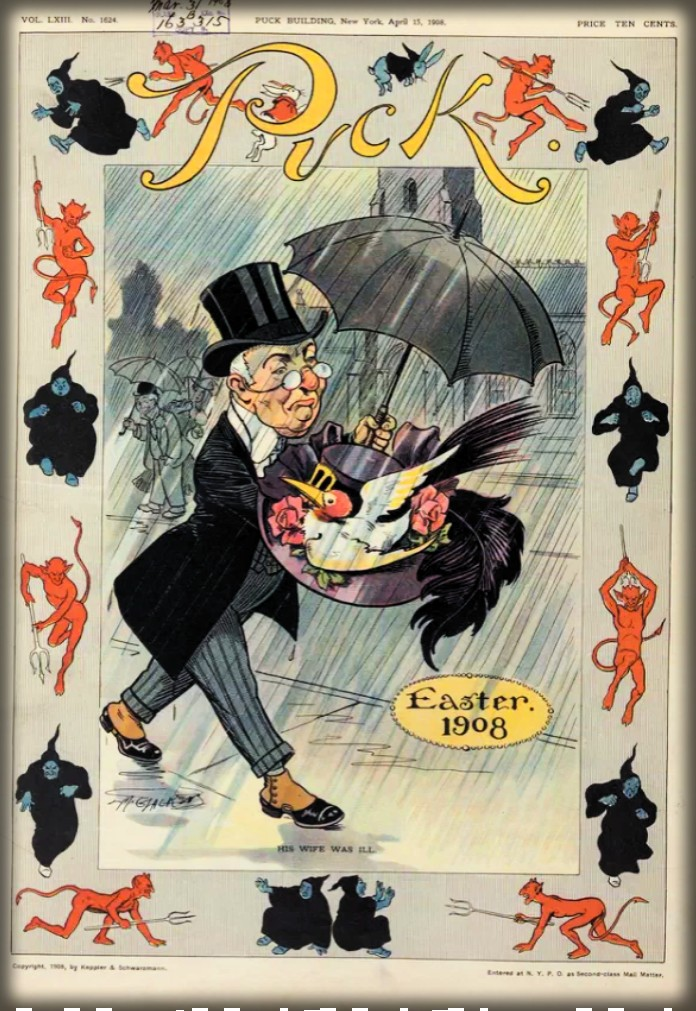 Man Protects Wife's Easter Bonnet Under Umbrella, Puck Magazine, 1908. Image: Library of Congress.