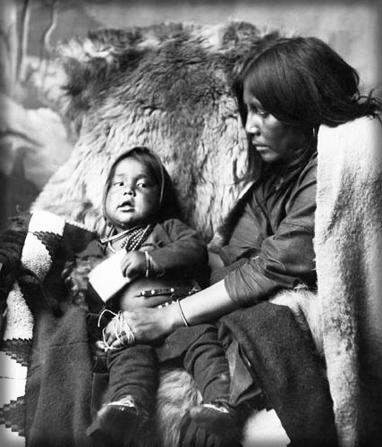 Blackfoot Mother and Child, 1880s by Alexander J. Ross, Calgary Alberta.