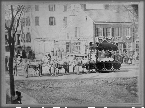 Lincoln's Funeral Caisson, New York, May 1865. Image: Gilder Lehrman Collection.
