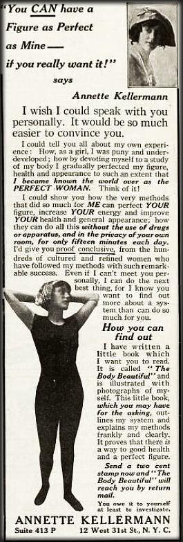 Annette Kellermann Ad, 1916. Image: Wikipedia.