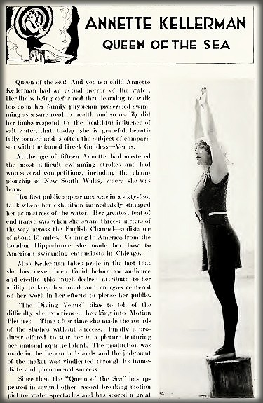 Annette Kellermann, Who's Who On Screen. Image: Library of Congress.