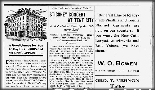 Coronado Tent City News, 1903. Image: California Digital Newspaper Collection.
