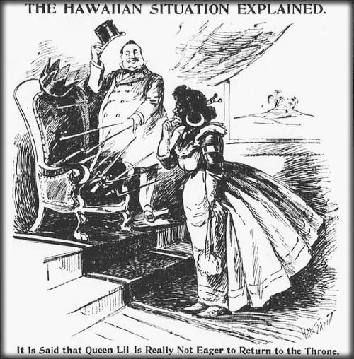 Princess Kaiulani, Political Cartoon, c. 1893. Image: Library of Congress.