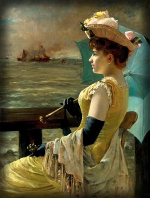 Lady With Parasol Looking Out To Sea by Alfred Stevens, . Image: Athenaeum.org.
