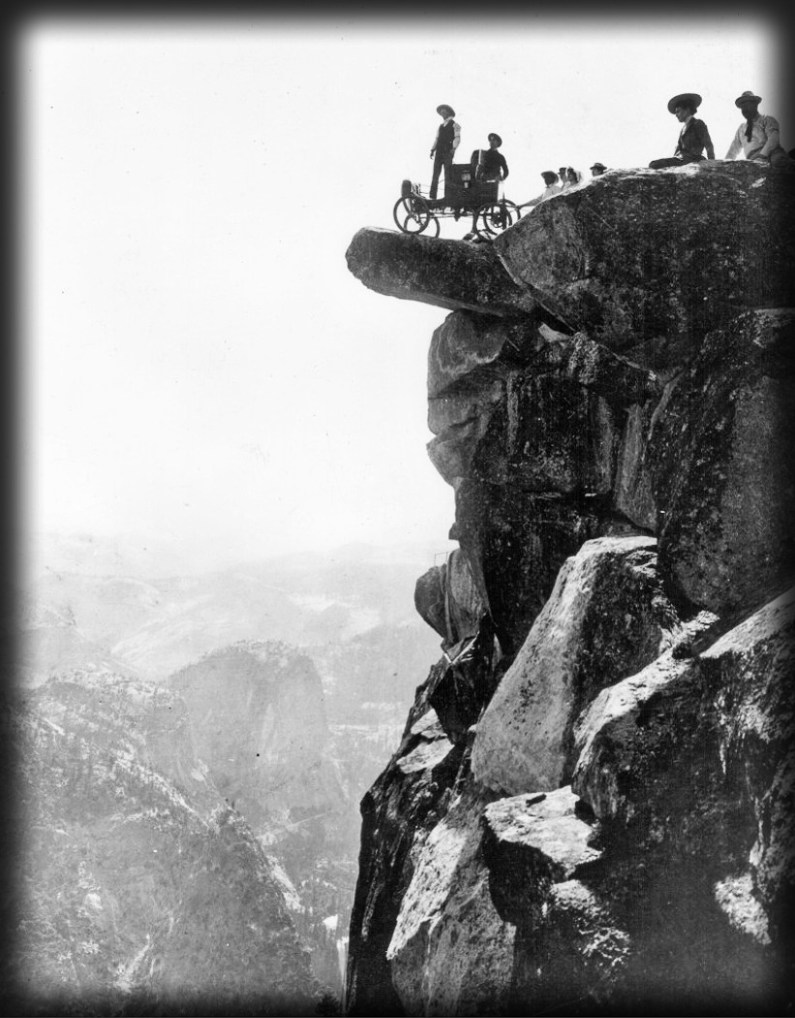 Glacier Point Publicity shot of a Studebaker Roadster, 1916. Image: National History Museum.org.