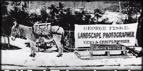 George Fiske Ad With Donkey in Yosemite, c. 1890s. Image: Historic Camera.