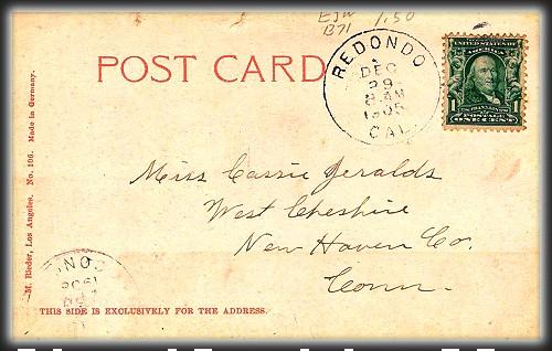 Victorian Seaside Images, Redondo Beach, Dec. 1905. Image: HipPostCards.com.