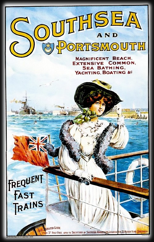 Southsea and Portsmouth Travel Poster, c. late 1890s. Image: HastingsPier.