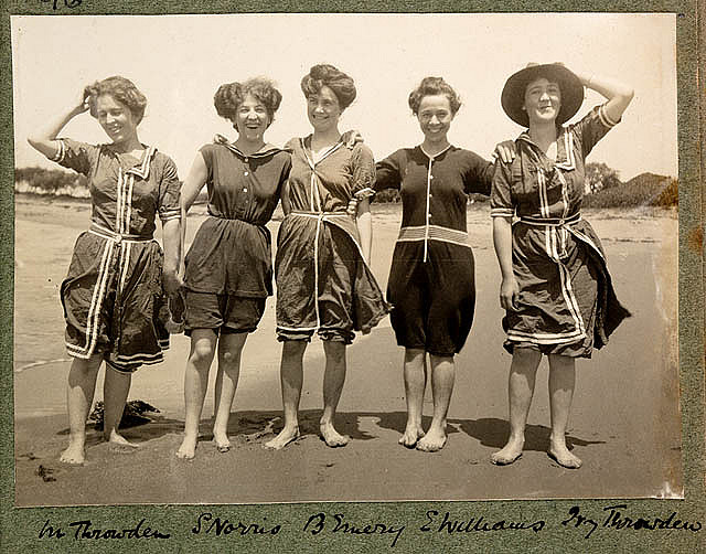 Women in bathing suits on Collaroy Beach (1908) by Colin Caird. Image: State Library of New South Wales: www.sl.nsw.gov.au.