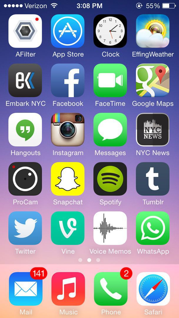 iPhone apps arranged in alphabetical order