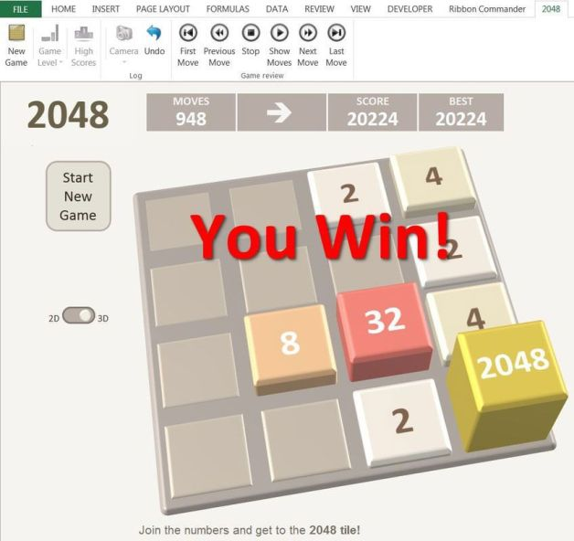 2048 Game in Excel