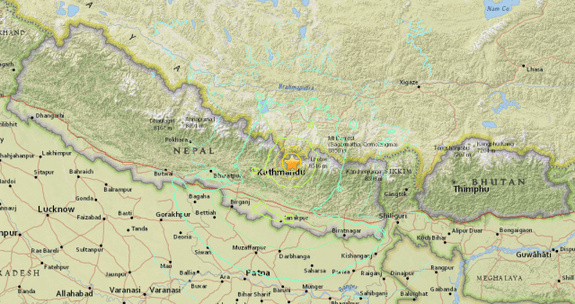 The second quake struck  near the Himalayas.