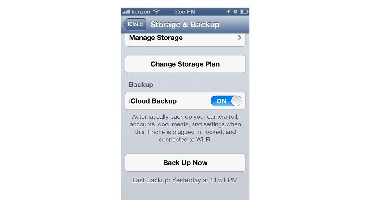 Turn on iCloud to wirelessly sync your data.