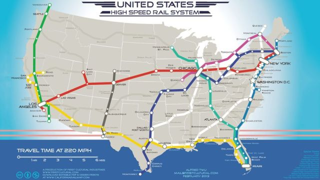 A map of the USA showing a hypothetical high speed rail lines across the continent