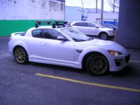 Yakima Roof rack with Fat Cat Ski rack on a Mazda RX-8 ...