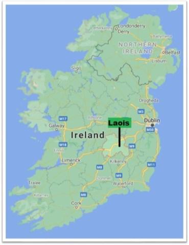 Carte comté de Laois Irlande